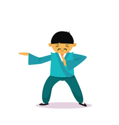 Asian man cartton character wearing traditional vector