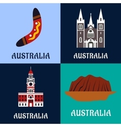 Australian ladscape and architecture flat icons vector