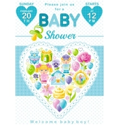 Baby shower invitation design in blue color for vector image