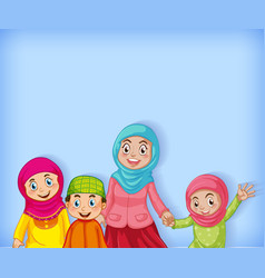 Background template design with muslim family on vector
