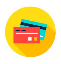 Bank card circle icon vector