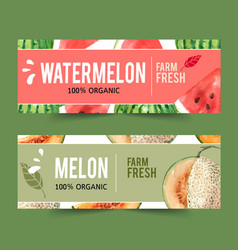 Banner design with fruits theme watermelon vector