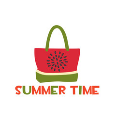 beach bag with a print bright watermelon vector image