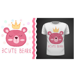 bear princess - idea for print t-shirt vector image