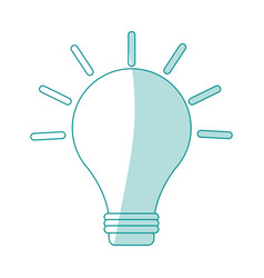 Blue silhouette shading image light bulb on with vector