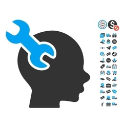 Brain Service Wrench Icon With Free Bonus vector image
