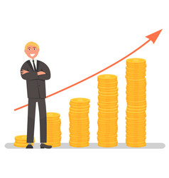Businessman and growing investment graph vector