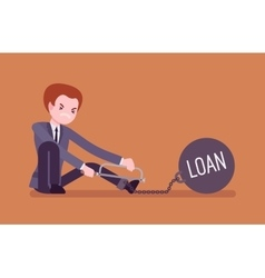 Businessman chained with a metall weight Loan vector