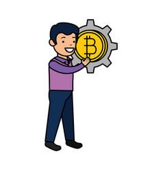 businessman lifting bitcoin icon vector image