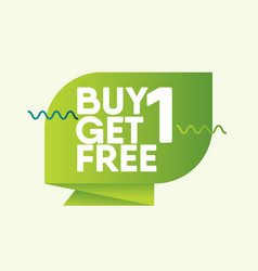 Buy 1 get free label badge template design vector