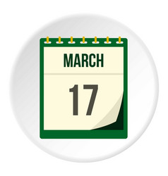 calendar with st patrick day date icon circle vector image