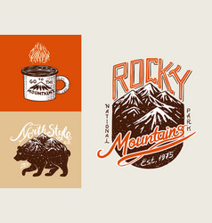 camping logo and labels mountains and brown bear vector image