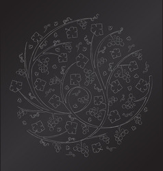 Chalk floral ornament of grape vines and bu vector