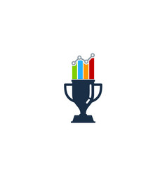 Chart trophy logo icon design vector