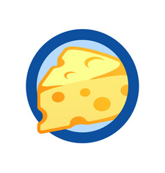 cheese piece in round emblem flat logo vector image