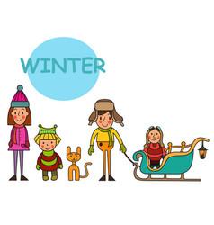 children-winter boys and girls kids in winter vector image