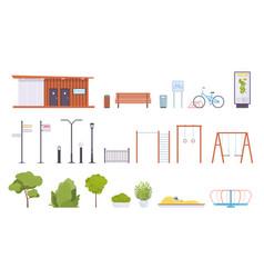 city park elements public rest place objects vector image