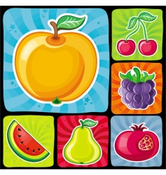 colorful fruity icons vector image