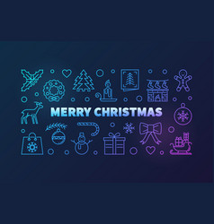 Colorful merry christmas horizontal vector