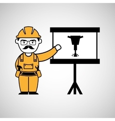 construction man jackhammer icon graphic vector image