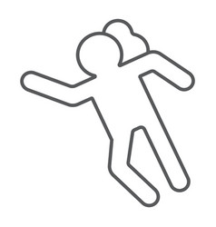 Crime scene thin line icon accident and murder vector