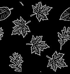 Cute autumn chalkboard leaves cartoon seamless vector