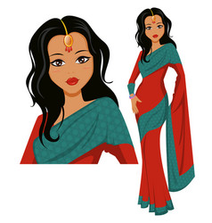 Cute indian woman wearing a beautiful saree eps10 vector