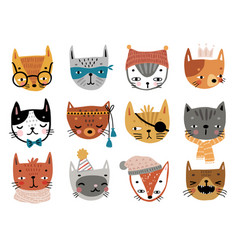 cute kittens childish characters with different vector image