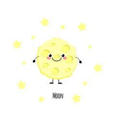 cute moon kawaii characters vector image