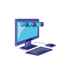 desktop computer with parasol store vector image