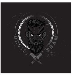 Devil team devil circle frame black background vec vector