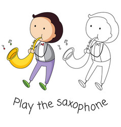doodle man playing saxophone vector image