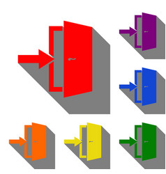 door exit sign set of red orange yellow green vector image