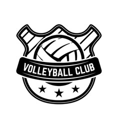 Emblem template with volleyball ball isolated on vector