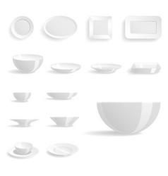 empty white plates set isolated vector image