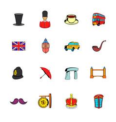 England icons set cartoon vector