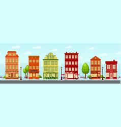 european shopping street cartoon city cute house vector image
