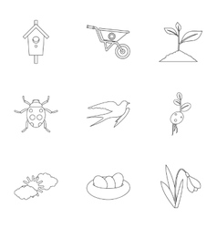 Farming icons set outline style vector image