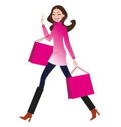 fashion girl with shopping bags vector image