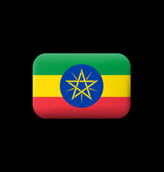 Flag ethiopia matted icon and button vector