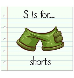 Flashcard letter S is for shorts vector