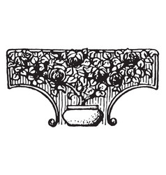 Floral tailpiece is a dotted plant design vintage vector