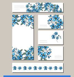 Forget me not set with visitcards and greeting vector