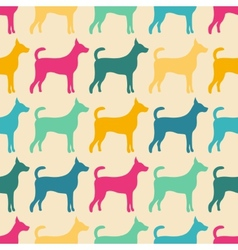 Funny animal seamless pattern of dog silhouettes vector