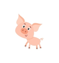 Funny little smiling pig with swirling tail vector image