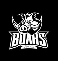 Furious boar sport club mono logo concept vector