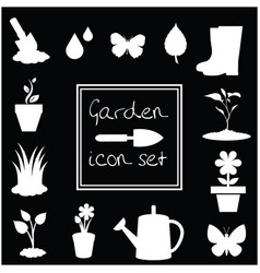 garden icons set isolated on black background vector image