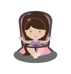 Girl sit in Baby rides module with layette form vector