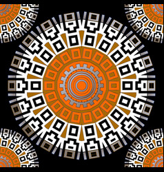 greek style round mandalas seamless pattern vector image