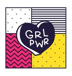 grl pwr short quote girl power cute hand drawing vector image
